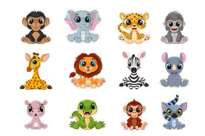 Set of Cartoon Twelve Little Animal Bundle