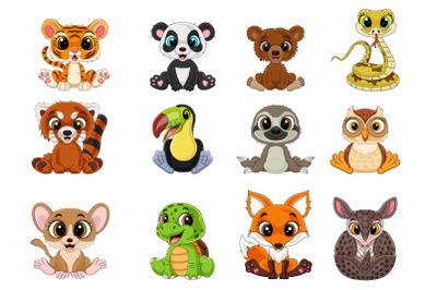 Set of Twelve Cartoon Little Animal Collection