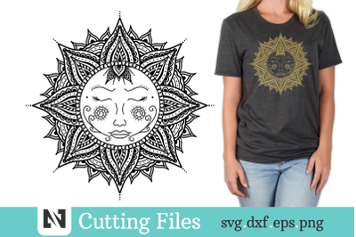 Sun Mandala Svg, Mystical Sun Svg, Tribal Sun Svg
