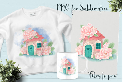 Fairy House sublimation. Design for printing.