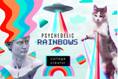 Psychedelic rainbows collage creator
