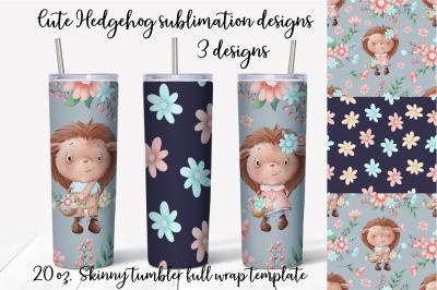 Cut Hedgehog sublimation design Skinny tumbler wrap design