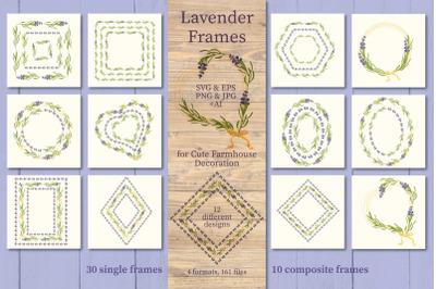 Lavender Frames. Floral Wreath