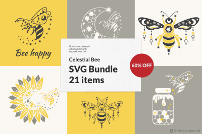 Bee SVG Bundle with sunflower svg, Honey Bee svg with crescent moon