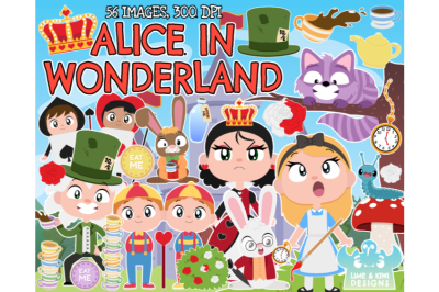 Alice in Wonderland Clipart - Lime and Kiwi Designs