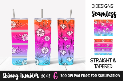 Floral Gradient Skinny Tumbler Template &2F; Orange&2C; Pink&2C; Blue