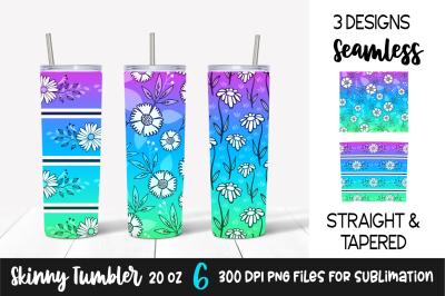 Floral Gradient Skinny Tumbler Design &2F; Purple&2C; Blue&2C; Green