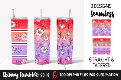 Floral Gradient Skinny Tumbler Wrap &2F; Red&2C; Pink&2C; Purple