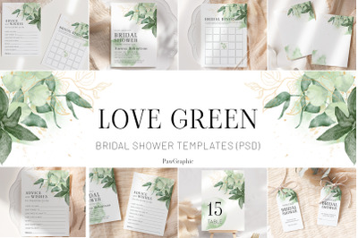 Greenery Bridal Shower Templates Cards Green Gold Invitation Suit