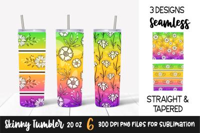 Floral Gradient Skinny Tumbler Wrap &2F; Green&2C; Yellow&2C; Purple