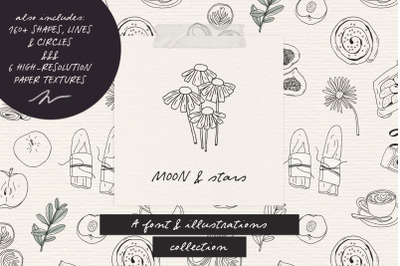 Moon And Stars font and illustrations