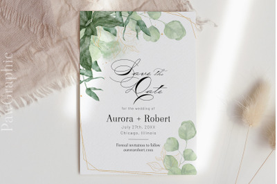 Greenery Save the Date Template Wedding Announcement Card
