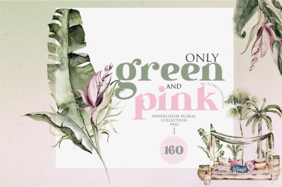 Tropical retro collection. Arch, palm leaves, pink flowers