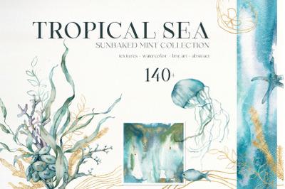 TROPICAL SEA watercolor ocean animals & abstract blue textures