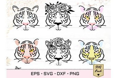Tiger SVG silhouette outline with flower decorated crown