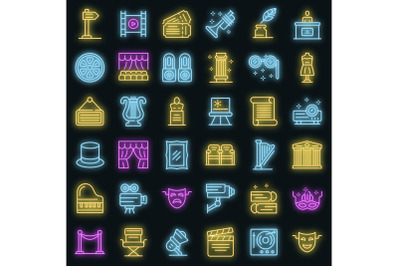 Theater museum icons set vector neon
