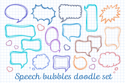 Speech bubbles doodle set + seamless patterns