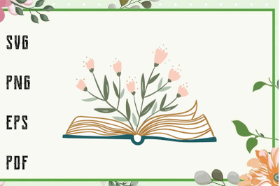 Floral Book Svg, File For Cricut, For Silhouette, Cut File, Dxf, Png,