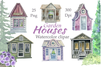 Garden houses watercolor clipart, Cottage Clipart,  Sweet Home Clipart