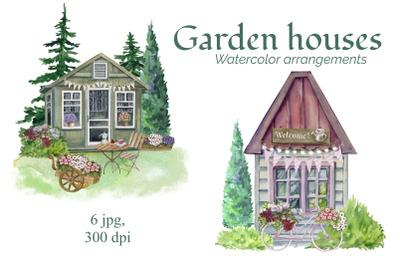 Watercolor Garden houses, Garden compositions, Sweet home, Garden deco