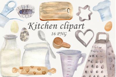 Kitchen utensils baking clipart, Watercolor food clip art