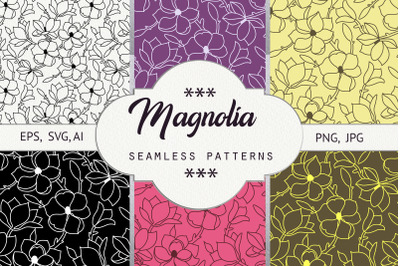 Magnolia. Seamless pattern