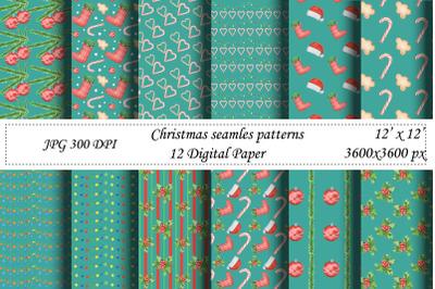 Christmas seamless pattern.Mint digital paper.Santa,New year