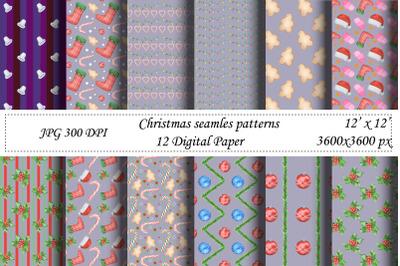 Christmas seamless pattern.Violet digital paper.Santa,New year
