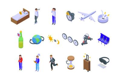 Jet lag icons set&2C; isometric style