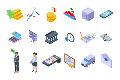 Bank reserves icons set isometric vector. Check gold money