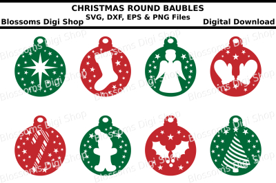 Christmas Baubles SVG, EPS, DXF and PNG cut file