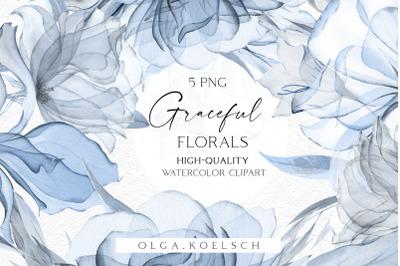 Dusty blue floral clipart, Boho navy blue bouquet watercolor png