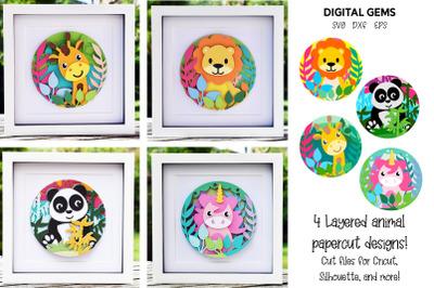 Animal Layered paper designs. Lion, Unicorn, Panda, Giraffe.