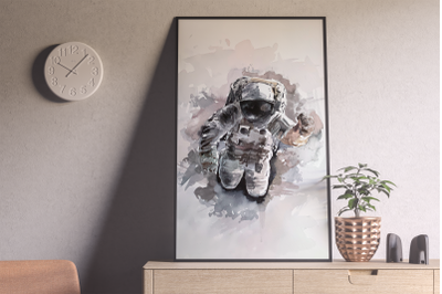 Watercolor Astronaut Print and Clip Art