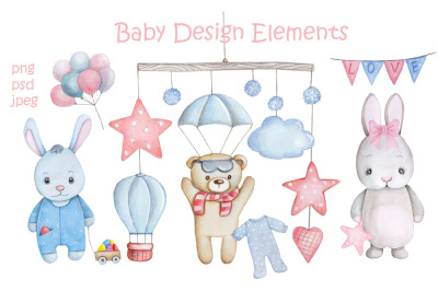 Baby Design Elements. Watercolor illustrations.