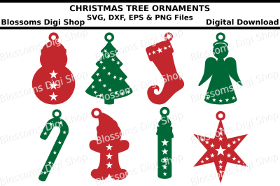 Tree Ornaments SVG, EPS, DXF and PNG cut files