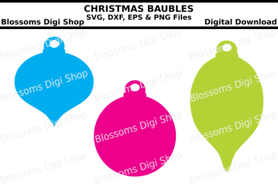 Christmas baubles SVG, EPS, DXF and PNG cut files