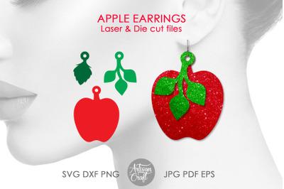Apple earrings, leaves, earrings SVG