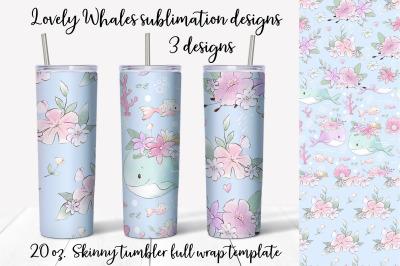 Lovely Whales  sublimation design. Skinny tumbler wrap design.