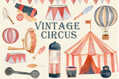 Vintage circus tent, watercolor clipart