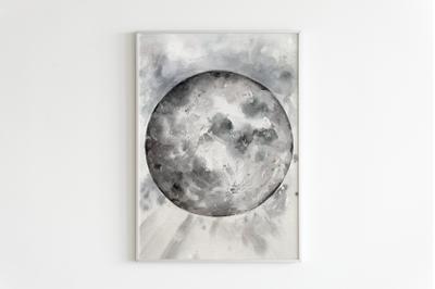 Watercolor Moon Print and Clip Art