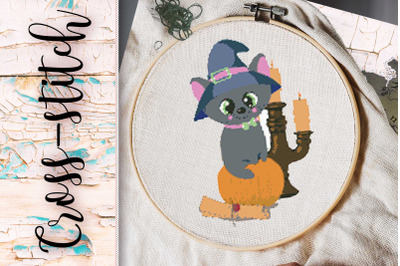 "cross-stitch ""sly cat"""