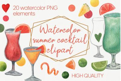 Watercolor alcohol cocktail set png