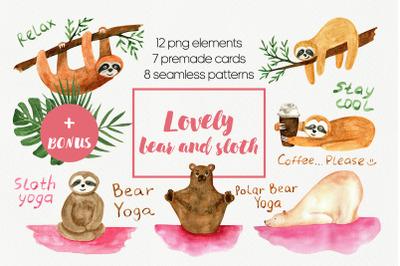 Cute sloth and yoga bear watercolor