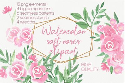 Soft pink rose bouquet clipart
