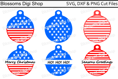 Stars and stripes tree decoration monogram SVG, DXF and PNG cut files