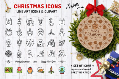 Line Christmas Icon Set + Bonus