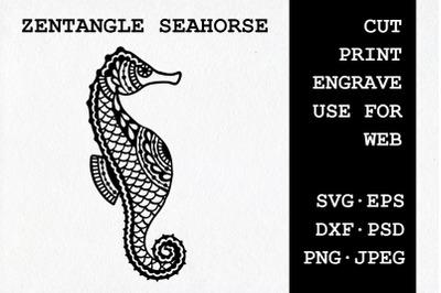 Zentangle Seahorse | SVG DXF EPS PSD PNG JPEG