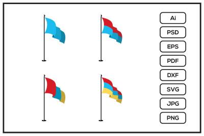 Realistic flags design illustration