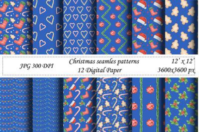 Christmas seamless pattern.Blue digital paper.Santa,New year